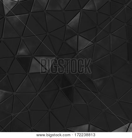 Abstract background of triangle polygons background. Black. 3D rendering