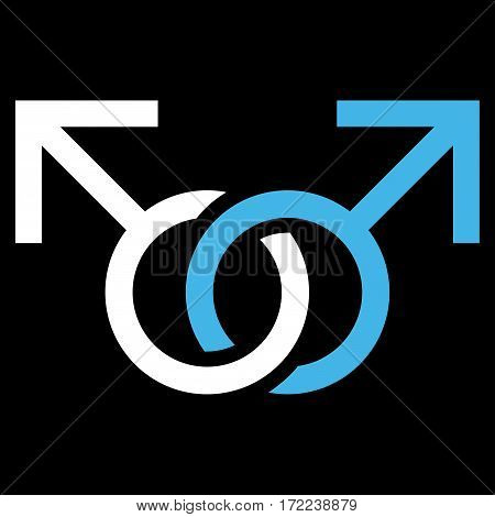 Gay Love Symbol flat icon. Vector bicolor blue and white symbol. Pictograph is isolated on a black background. Trendy flat style illustration for web site design logo ads apps user interface.