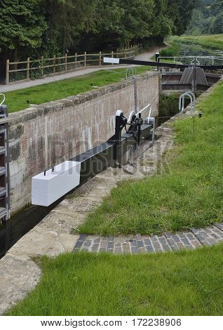 Restored Ham Mill Lock and Gates from Bridge Thames & Severn Canal Thrupp Stroud Gloucestershire