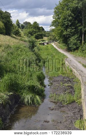 Griffin's Mill Lock on Thames & Severn Canal Viewed from Jubilee Footbridge Brimscombe Stroud Gloucestershire