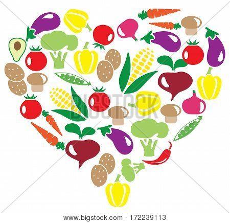 vector illustration of vegetable heart health concept