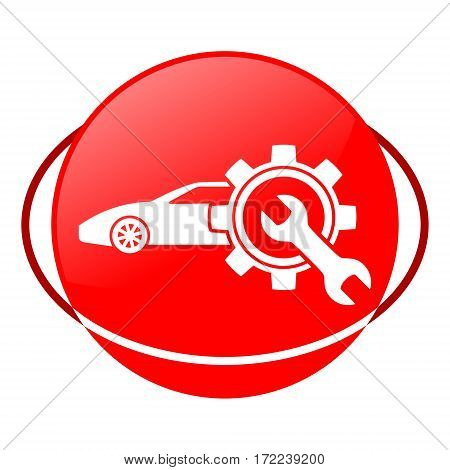 Red icon, car service vector illustration on white background