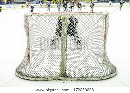 an ice hockey goalie during a game