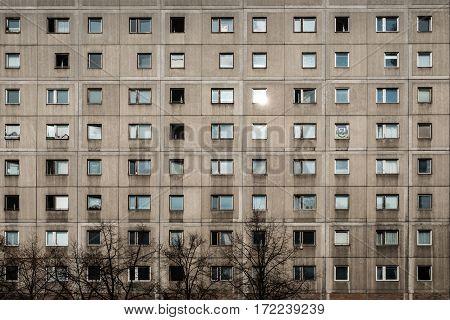 gdr architecture - Plattenbau building facade -