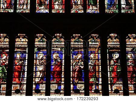 Metz France - july 25 2016 : stained glass window of the Saint Etienne cathedral