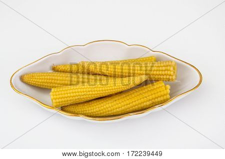 Corn cobs small canned pickled. Studio Photo