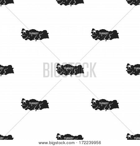 Territory of Turkey icon in black style isolated on white background. Turkey pattern vector illustration.