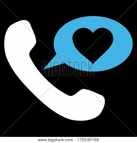 Love Phone Message flat icon. Vector bicolor blue and white symbol. Pictogram is isolated on a black background. Trendy flat style illustration for web site design logo ads apps user interface.