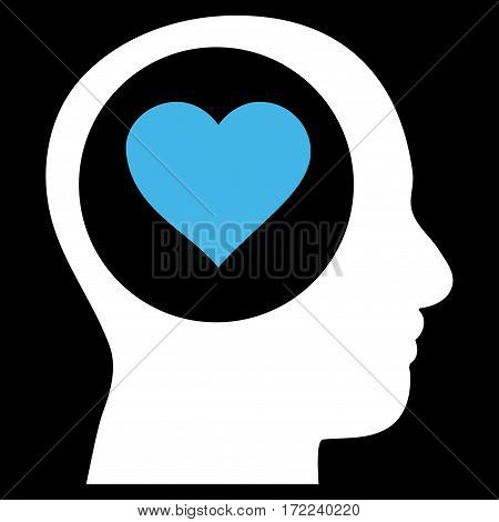Love Thinking Head flat icon. Vector bicolor blue and white symbol. Pictograph is isolated on a black background. Trendy flat style illustration for web site design logo ads apps user interface.