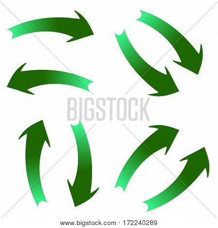 Curved green arrows on white background in different directions