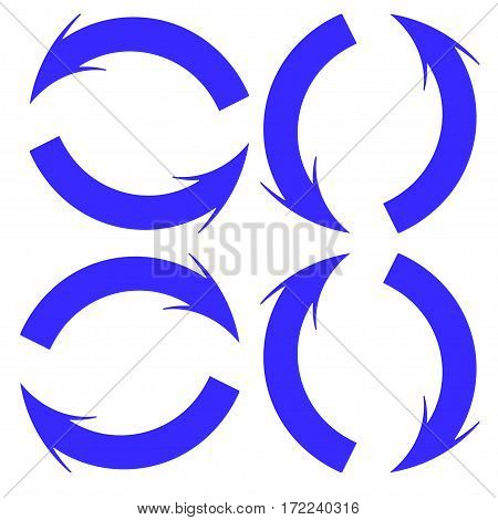 Blue round arrows on a white background, aimed in different directions