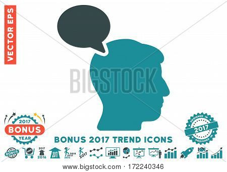 Soft Blue Person Opinion icon with bonus 2017 year trend icon set. Vector illustration style is flat iconic bicolor symbols white background.
