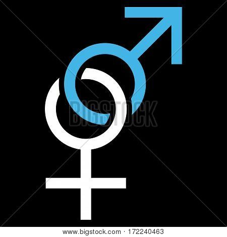 Sex Symbol flat icon. Vector bicolor blue and white symbol. Pictograph is isolated on a black background. Trendy flat style illustration for web site design logo ads apps user interface.