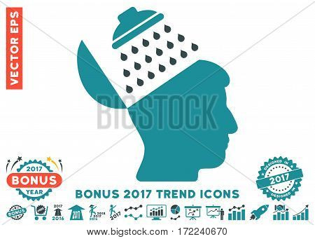 Soft Blue Propaganda Brain Shower pictograph with bonus 2017 trend pictures. Vector illustration style is flat iconic bicolor symbols white background.