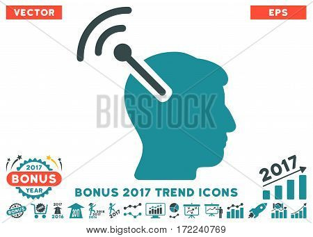 Soft Blue Radio Neural Interface pictogram with bonus 2017 year trend clip art. Vector illustration style is flat iconic bicolor symbols white background.