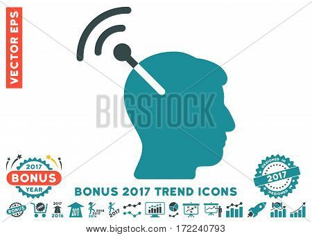 Soft Blue Radio Neural Interface icon with bonus 2017 year trend pictograms. Vector illustration style is flat iconic bicolor symbols white background.