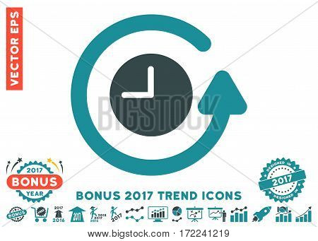 Soft Blue Restore Clock pictograph with bonus 2017 year trend design elements. Vector illustration style is flat iconic bicolor symbols white background.