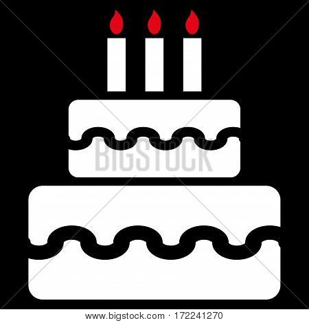 Birthday Cake flat icon. Vector bicolor red and white symbol. Pictograph is isolated on a black background. Trendy flat style illustration for web site design logo ads apps user interface.