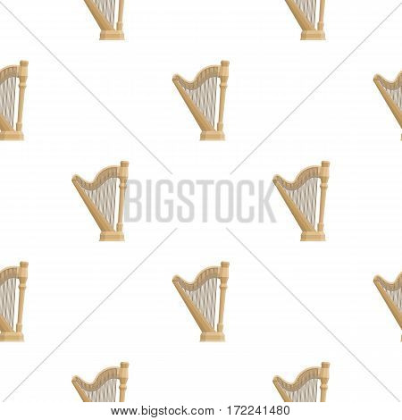 Harp icon in cartoon style isolated on white background. Musical instruments pattern vector illustration