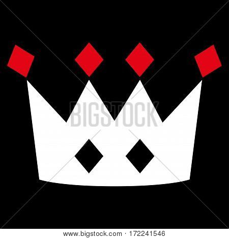Crown flat icon. Vector bicolor red and white symbol. Pictogram is isolated on a black background. Trendy flat style illustration for web site design logo ads apps user interface.