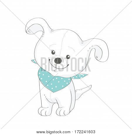 Funny dog with blue shawl. Vector illustration