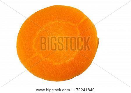 Rpund carrot slice isolated on white background