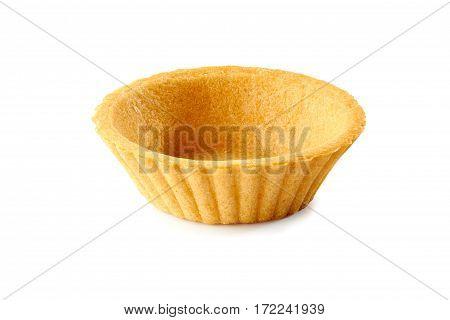 One empty tartlet isolated on white background