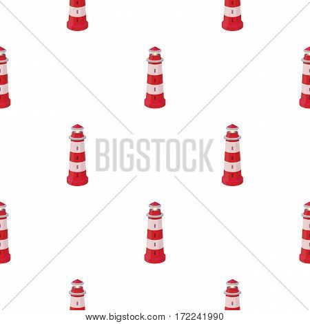 Lighthouse icon in cartoon style isolated on white background. Light source pattern vector illustration