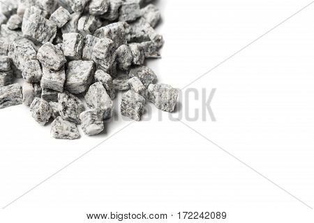 beautiful crushed granite gray on a white background