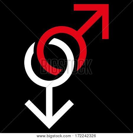 Gay Love Symbol flat icon. Vector bicolor red and white symbol. Pictogram is isolated on a black background. Trendy flat style illustration for web site design logo ads apps user interface.