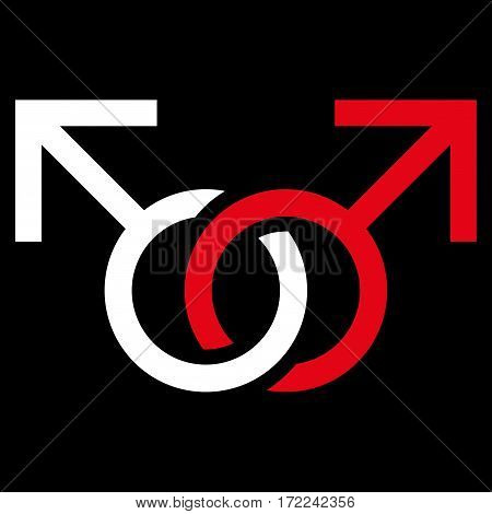 Gay Love Symbol flat icon. Vector bicolor red and white symbol. Pictograph is isolated on a black background. Trendy flat style illustration for web site design logo ads apps user interface.