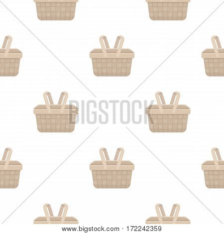 Picnic basket icon in cartoon style isolated on white background. Park pattern vector illustration.