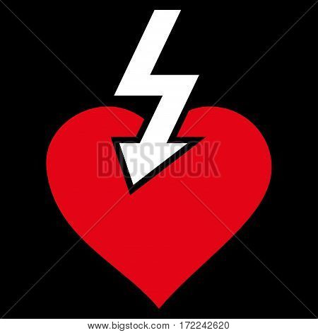 Heart Shock Strike flat icon. Vector bicolor red and white symbol. Pictogram is isolated on a black background. Trendy flat style illustration for web site design logo ads apps user interface.