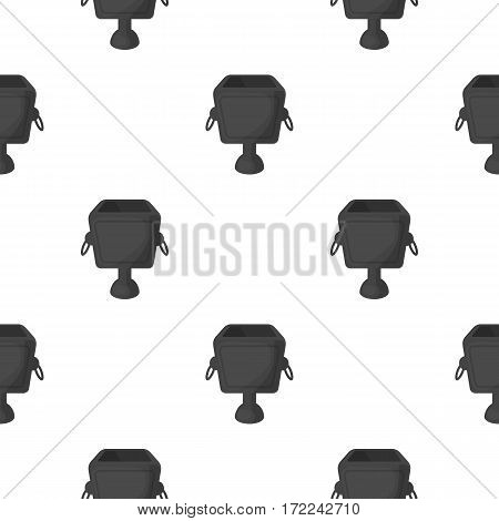 Garbage can icon in cartoon style isolated on white background. Park pattern vector illustration.