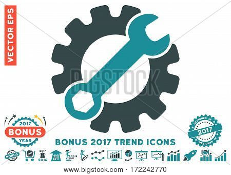 Soft Blue Service Tools pictograph with bonus 2017 year trend pictograph collection. Vector illustration style is flat iconic bicolor symbols white background.