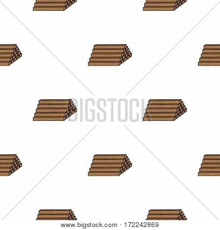 Stack of lumbers icon in cartoon style isolated on white background. Sawmill and timber pattern vector illustration.