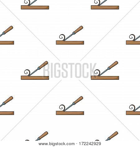 Chisel icon in cartoon style isolated on white background. Sawmill and timber pattern vector illustration.