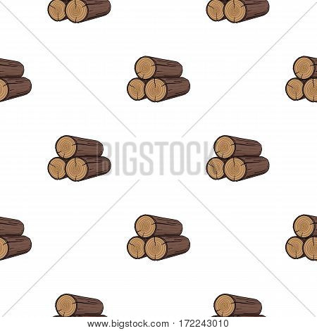 Stack of logs icon in cartoon style isolated on white background. Sawmill and timber pattern vector illustration.