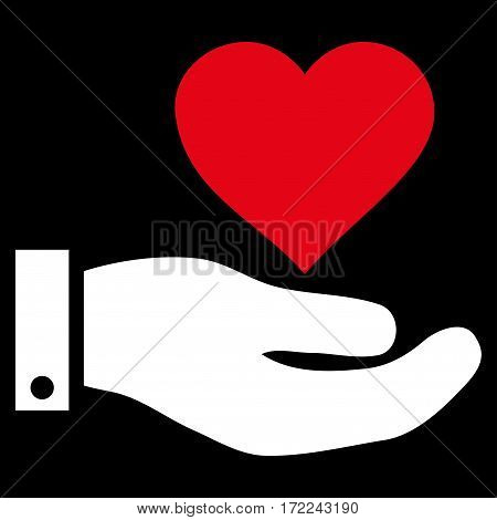 Love Heart Offer Hand flat icon. Vector bicolor red and white symbol. Pictogram is isolated on a black background. Trendy flat style illustration for web site design logo ads apps user interface.