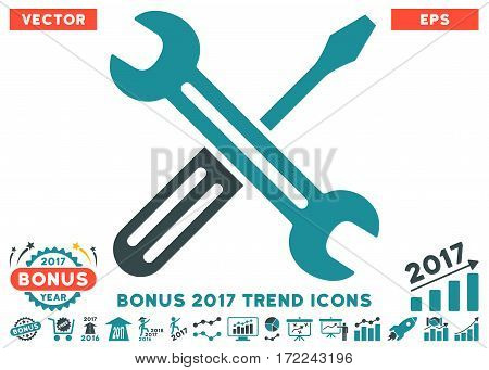 Soft Blue Spanner And Screwdriver icon with bonus 2017 year trend pictograms. Vector illustration style is flat iconic bicolor symbols white background.