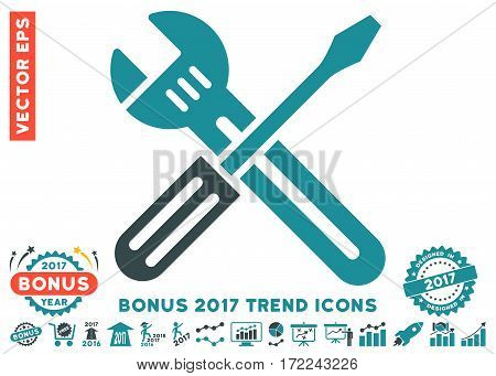 Soft Blue Spanner And Screwdriver icon with bonus 2017 trend images. Vector illustration style is flat iconic bicolor symbols white background.