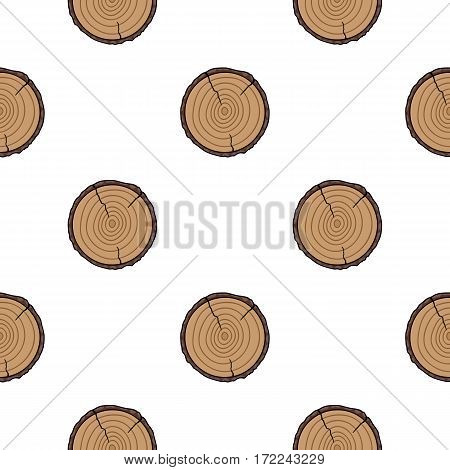 Cross section icon in cartoon style isolated on white background. Sawmill and timber pattern vector illustration.