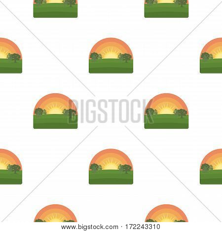 Sunrise icon in cartoon style isolated on white background. Weather pattern vector illustration.