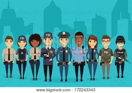 Young law enforcement officials are on the background of the city. Different professions protection of citizens. Professionals in their field. Sheriff, Federal Bureau of Investigation, special forces, police.