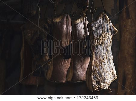 Drying pork meat, domestic style in Balkan