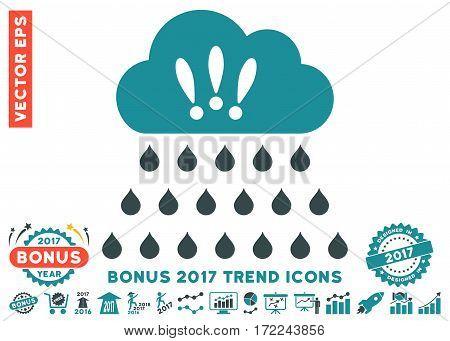 Soft Blue Thunderstorm Rain Cloud pictogram with bonus 2017 trend pictograms. Vector illustration style is flat iconic bicolor symbols white background.
