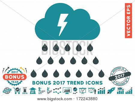 Soft Blue Thunderstorm Rain Cloud icon with bonus 2017 year trend clip art. Vector illustration style is flat iconic bicolor symbols white background.