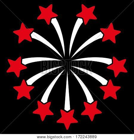 Spherical Fireworks flat icon. Vector bicolor red and white symbol. Pictograph is isolated on a black background. Trendy flat style illustration for web site design logo ads apps user interface.