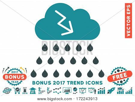 Soft Blue Thunderstorm Rain Cloud pictograph with bonus 2017 trend clip art. Vector illustration style is flat iconic bicolor symbols white background.
