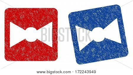 Bow Tie grunge textured icon. Rounded square with symbol shape hole. Flat style with dust texture. Blue and red variants. Corroded vector stamp with grainy design.